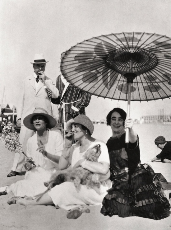 Coco Chanel, Misia Sert and Mme Philippe Berthelot on the beach at the Lido in Venice - 1925